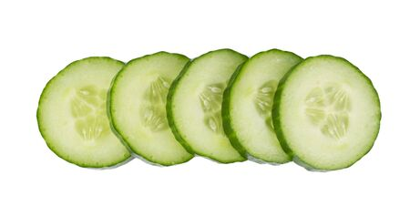 Sliced cucumber isolated on a white background.