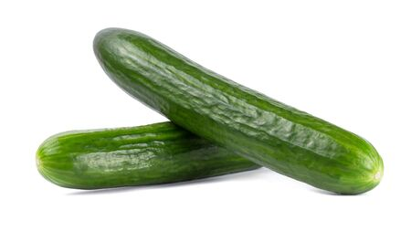 Green Tasty whole Cucumber isolated on white background