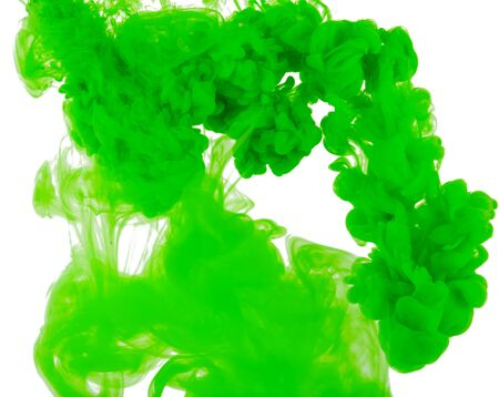 Green Abstract acrylic paint color swirls in water isolated on white background 版權商用圖片