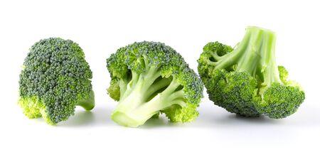 Fresh three green tasty broccoli in closeup isolated on white background 版權商用圖片