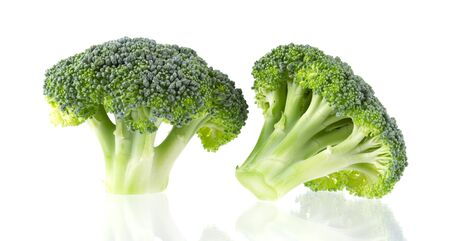 Fresh green tasty broccoli in closeup isolated on white background
