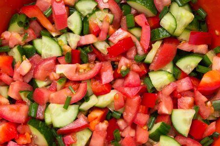 Fresh Salad with tomatoes cucumbers background texture 版權商用圖片