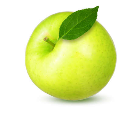 fresh green apple with leaf isolated on white background 版權商用圖片