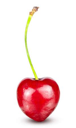 Red ripe cherry isolated on white background 版權商用圖片