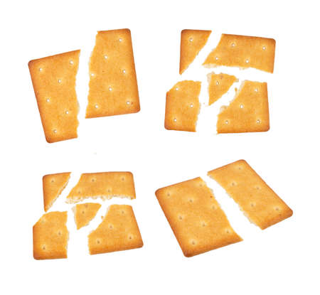 Square group of cracker isolated on white background 免版税图像