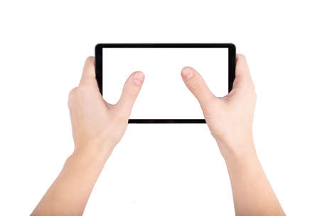 Hands holding and point on digital tablet isolated in white background close up