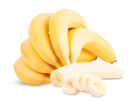 group of bananas isolated on the white background.