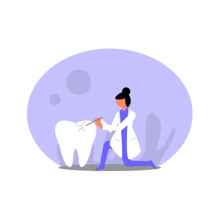 Flat vector dentist illustration. Perfect for covers, brochures, posters, books, banners, leaflets, landing pages, social media content.