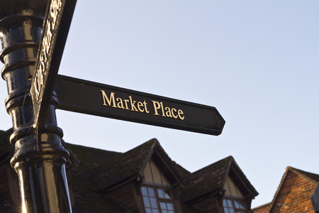 market place: Market place signpost Stock Photo