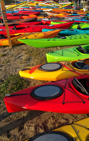Colorful Kayaks on Shore
