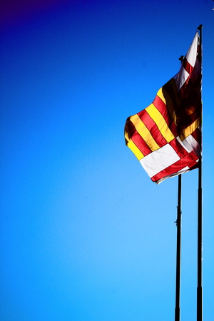 The flag of Spain and Catalonia photo