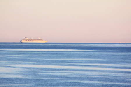 horizon over water: The cruise shipe in the blue Baltic sea
