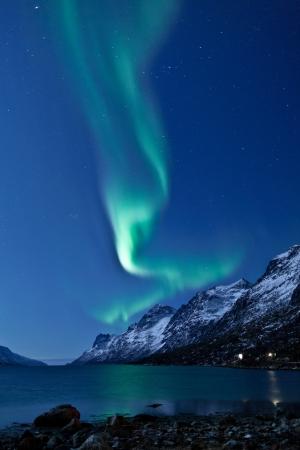 Luces del Norte Aurora Boreal en Noruega Foto de archivo - 14432090