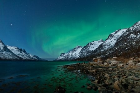 the aurora: Aurora Borealis  Northern lights  reflection with fjords