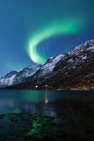 auroral: Aurora Borealis  Northern lights  reflection with fjords