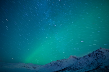 Aurora Borealis  Northern lights  with star trails photo