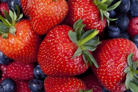 Strwaberries, blueberries and raspberries photo