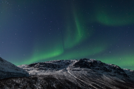 magnetic north: Aurora Borealis, Tromso, Norway Stock Photo