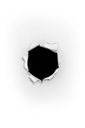 Bullet hole in paper Stock Photo - 14598000