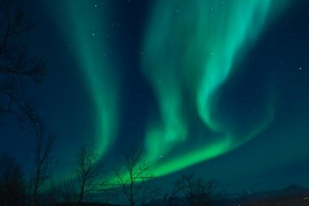 Aurora Borealis Nordlichter Verwirbelung in den Himmel Standard-Bild - 14597999