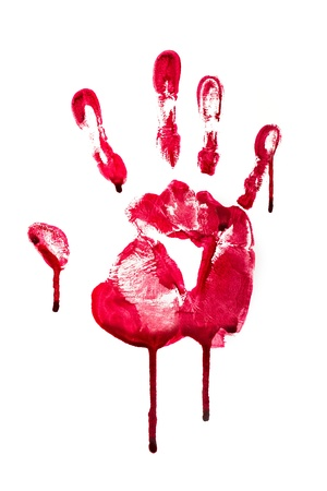 Horror Blood hand print photo