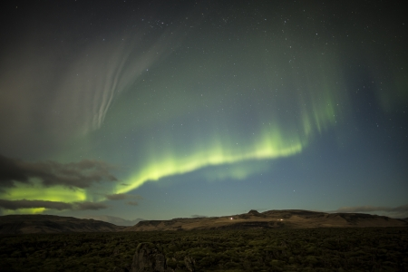 alpine zone: Northern lights above Iceland Stock Photo
