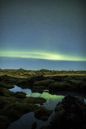 geomagnetic: Northern lights above Iceland Stock Photo