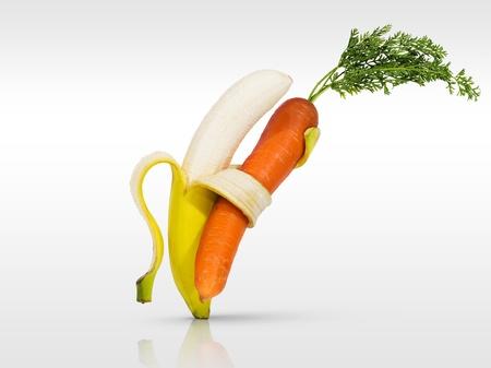 zanahoria: Zanahoria y pl�tano baile para la salud Foto de archivo