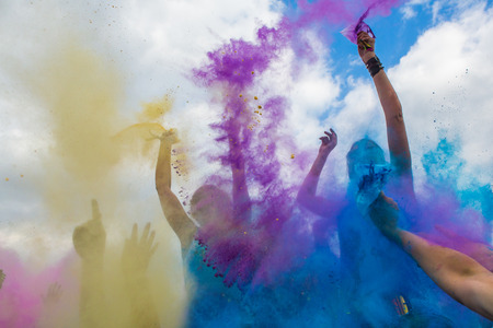 Holi festival, India, colour powder throw Stock Photo