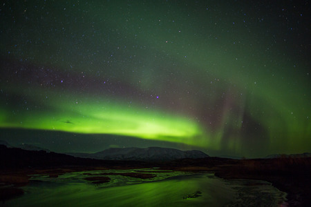 arctic zone: Northern lights in Iceland