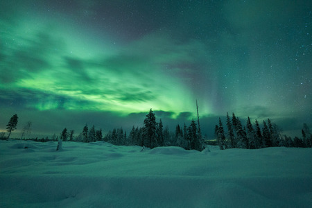 Aurora borealis (Northern Lights) in Finland, lapland Фото со стока