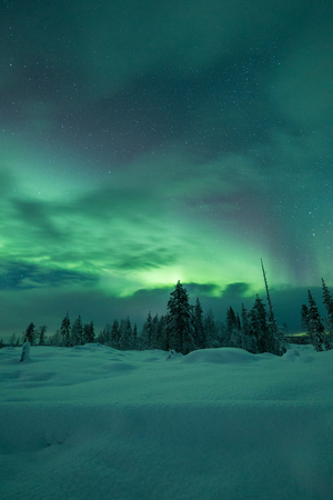 aurora: Aurora borealis (Northern Lights) in Finland, lapland Stock Photo