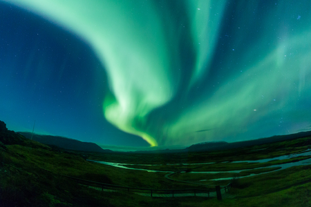 Aurora borealis (Northern Lights) in Iceland Stock Photo