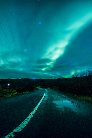 geomagnetic: Aurora borealis (Northern Lights) in Iceland Stock Photo
