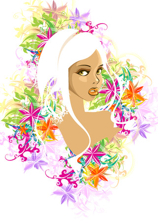 woman with floral Vector