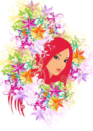 woman with floral Illustration