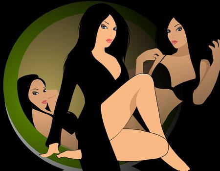 갈색 머리: 여자 일러스트