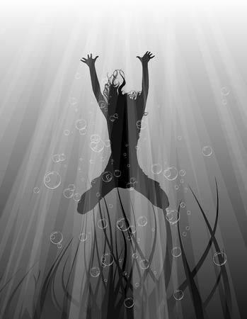 underwater sport: dive Illustration