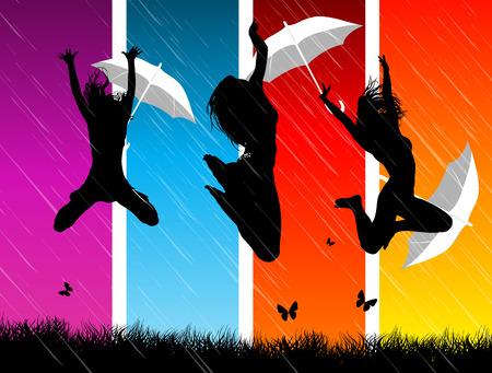 sexy umbrella: party Illustration