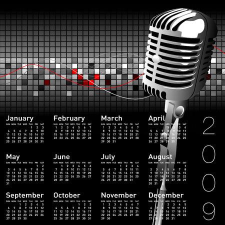 saturday night: calendar Illustration