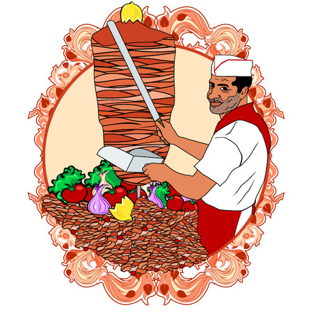 turkish kebab: party Illustration