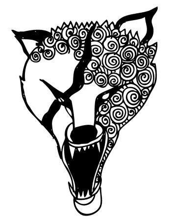 tattoo face: wolf head Illustration