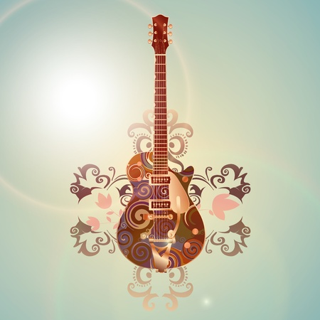 sheet music background: retro guitar