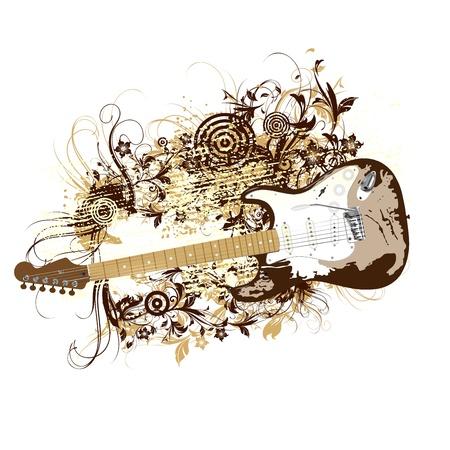 retro guitar Vector