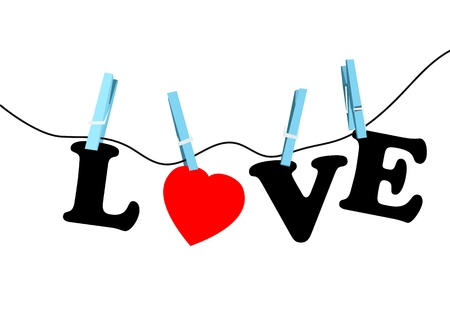 clothespin and rope: love