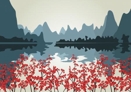traditionally chinese: Landscape Illustration