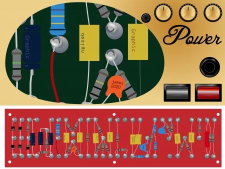 electronic scheme: Retro Illustration