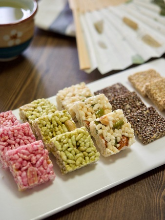 famous industries: Korean traditional snacks Sweet Rice Puffs, Gangjeong Stock Photo