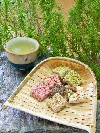 sesame cracker: Korean traditional snacks Sweet Rice Puffs, Gangjeong Stock Photo