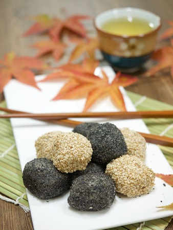 Asian food Black sesame glutinous rice cake Stock Photo